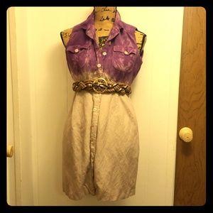Safari Purple Ombre Dip Dye Vintage belted Dress